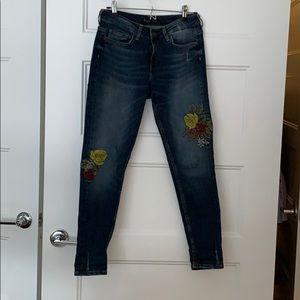 Zara Basic embroidered denim jeans